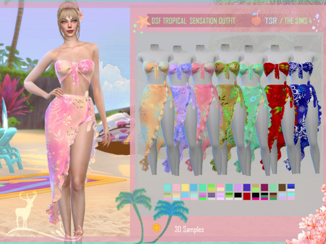 Dsf Tropical Sensation Outfit By Dansimsfantasy