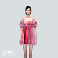Puff Sleeves Os Mini Dress