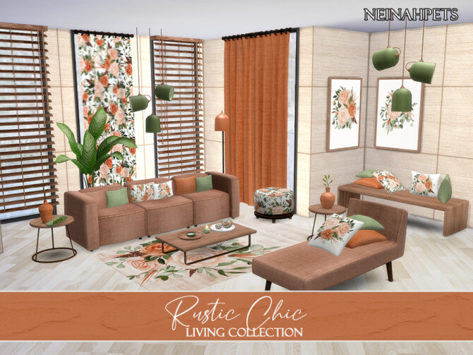 Sims 4 Rustic Chic Living by neinahpets at TSR