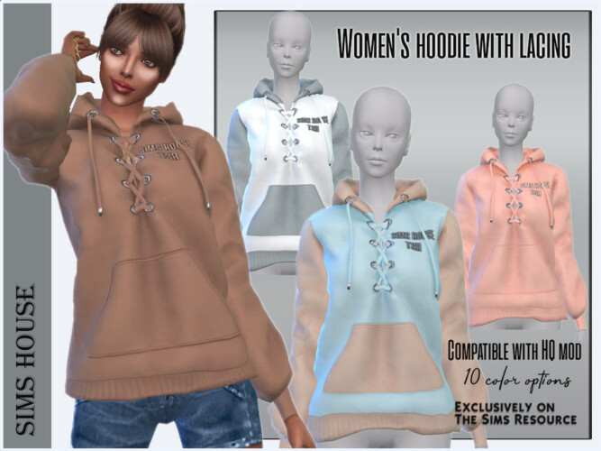 Women's Hoodie With Lacing By Sims House