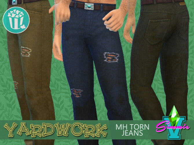 Sims 4 Yardwork MH Torn Jeans by SimmieV at TSR