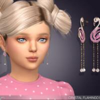 Crystal Flamingo Drop Earrings For Kids By Feyona