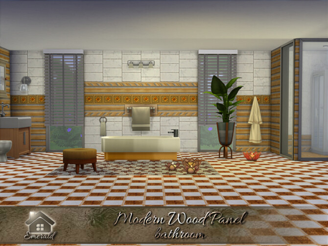 Sims 4 Modern Wood Panel bathroom by emerald at TSR