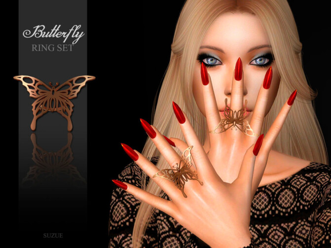 Sims 4 Butterfly Rings by Suzue at TSR