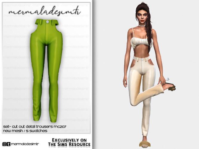 Set-cut Out Detail Trousers Mc207 By Mermaladesimtr
