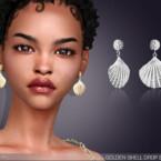 Golden Shell Drop Earrings By Feyona