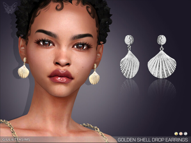 Golden Shell Drop Earrings By Feyona