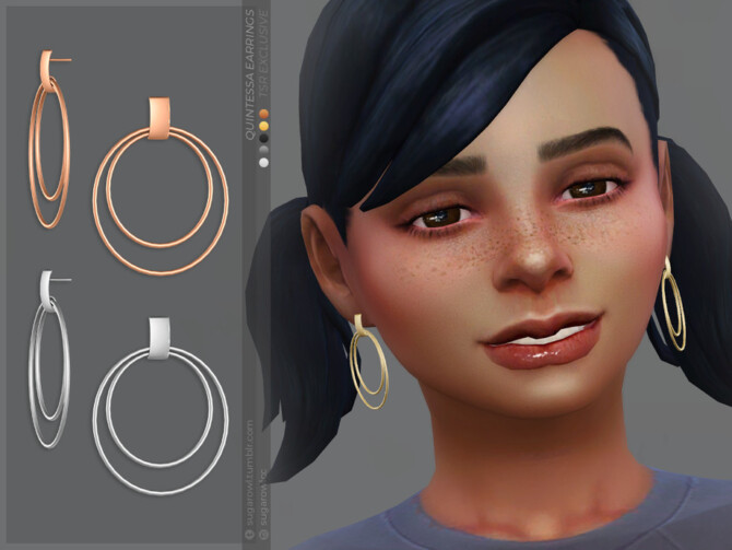 Sims 4 Quintessa earrings Kids version by sugar owl at TSR