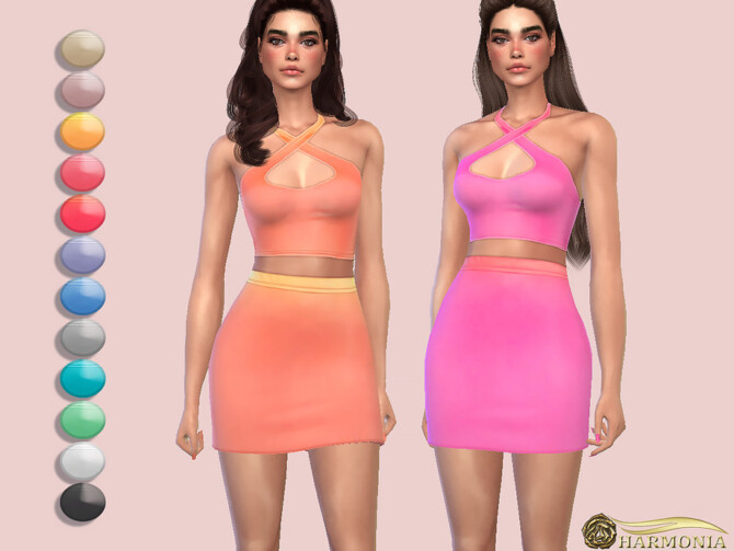 Sims 4 Ombre Print Slinky Skirt by Harmonia at TSR