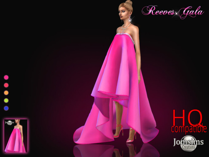 Sims 4 Reeves gala dress by jomsims at TSR