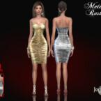 Metallic Rushed Dress By Jomsims