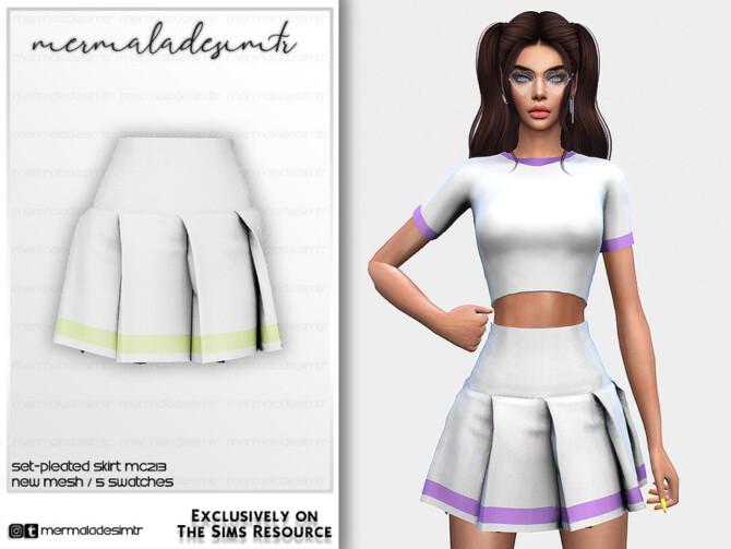 Sims 4 Set Pleated Skirt MC213 by mermaladesimtr at TSR