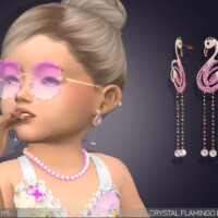 Crystal Flamingo Drop Earrings For Toddlers By Feyona