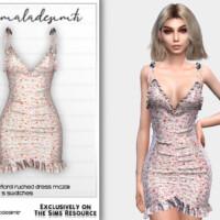 Ruffled Ditsy Floral Ruched Dress Mc231 By Mermaladesimtr