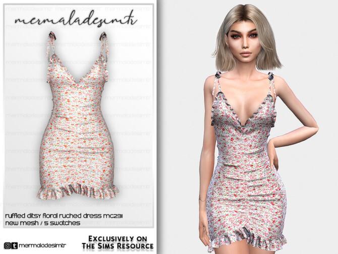 Sims 4 Ruffled Ditsy Floral Ruched Dress MC231 by mermaladesimtr at TSR