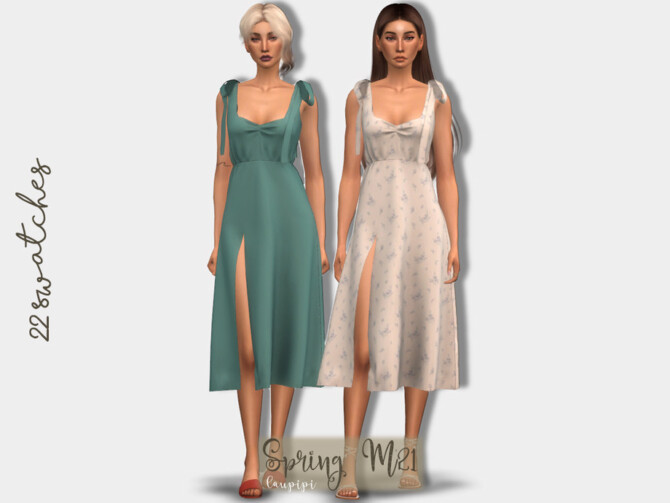 Sims 4 Spring Dress DR417 by laupipi at TSR
