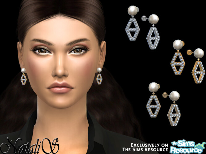 Diamond Hexagon Pearl Earrings By Natalis