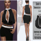 Blouse With Swarovski Crystals (set) By Sims House