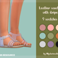 Leather Sandals With Stripes By Mysteriousoo