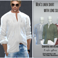 Men's Linen Shirt With Long Sleeves By Sims House