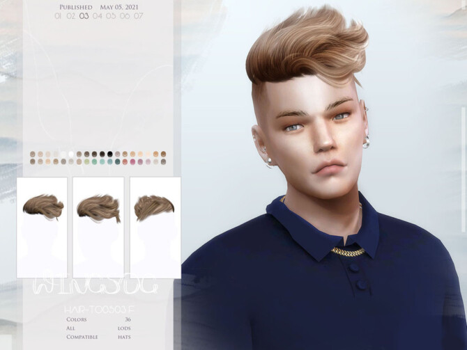 Sims 4 WINGS TO0503 hair by wingssims at TSR