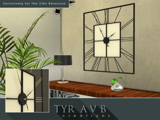 Sims 4 3D Square Wall Clock (Not a Decal) by TyrAVB at TSR