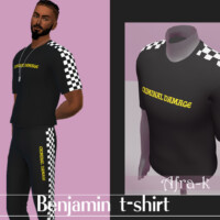 Benjamin T-shirt With Checkerboard Stripe By Akaysims
