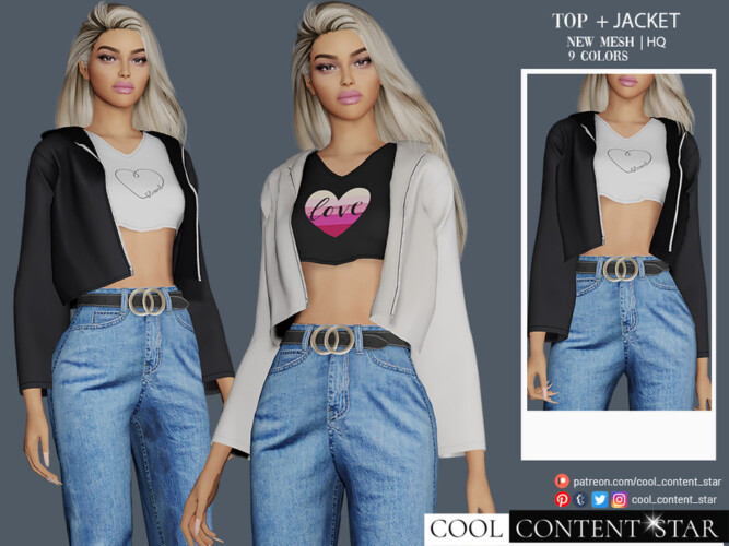 Top With Jacket By Sims2fanbg