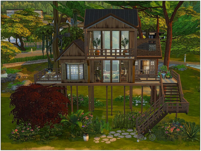 Sims 4 Cozy Treehouse by lotsbymanal at TSR
