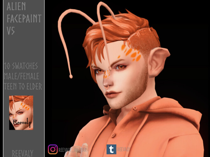 Sims 4 Alien Facepaint V5 by Reevaly at TSR