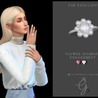Flower Diamond Engagement Ring By Glitterberryfly
