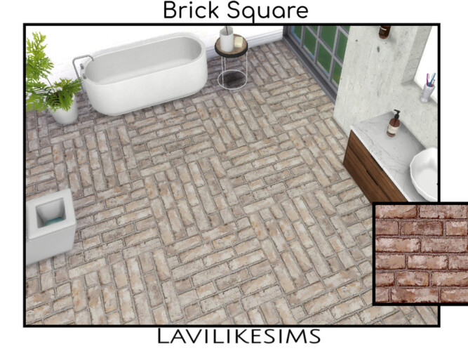Brick Square Floor By Lavilikesims