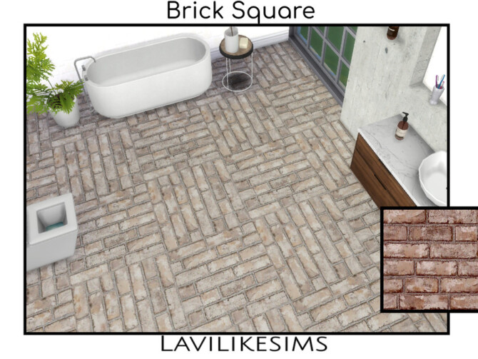 Sims 4 Brick Square Floor by lavilikesims at TSR