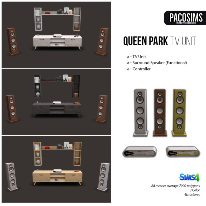 Sims 4 Queen Park Tv Unit & Surround System (P) at Paco Sims