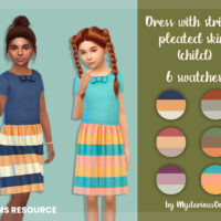 Dress With Striped Pleated Skirt (child) By Mysteriousoo