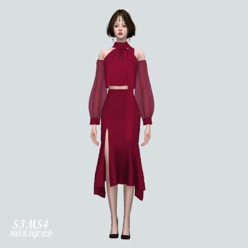 Chiffon Os Blouse With Midi Skirt