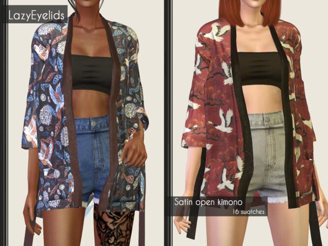 Satin Kimono & Pants + Bandeau Crop Top & Skirt