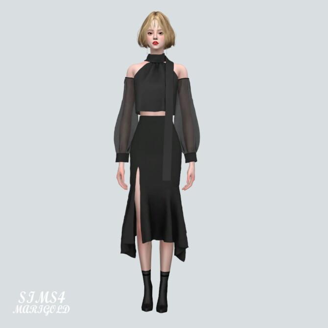 Sims 4 Chiffon OS Blouse With Midi Skirt at Marigold