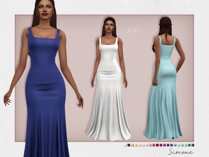 Sims 4 Simone Formal Dress by Sifix at TSR