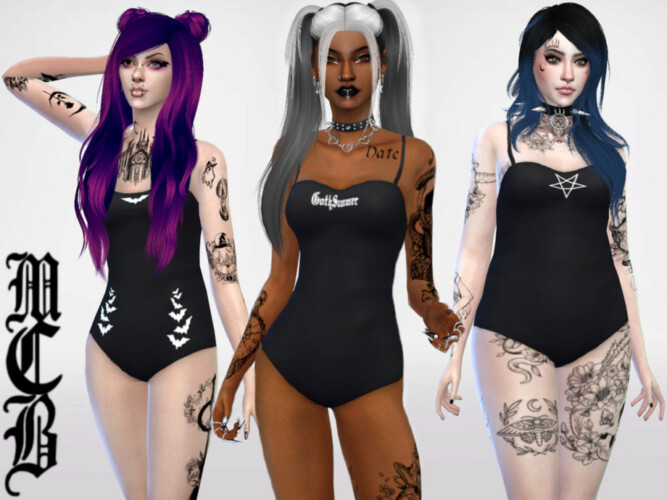 Goth Summer One Piece Swimsuits By Maruchanbe