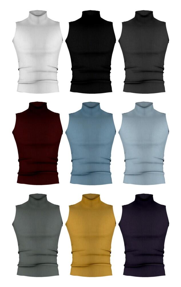 Sims 4 M Sleeveless turtleneck top at Bedisfull – iridescent