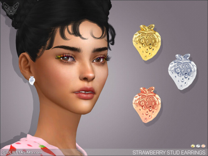 Sims 4 Strawberry Stud Earrings at Giulietta