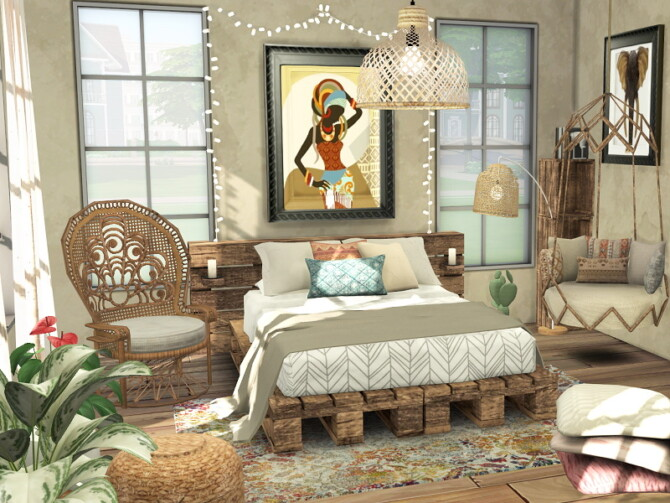 Sims 4 Boho Bedroom by Flubs79 at TSR
