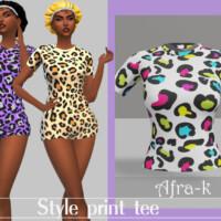 Style Print T-shirt By Akaysims