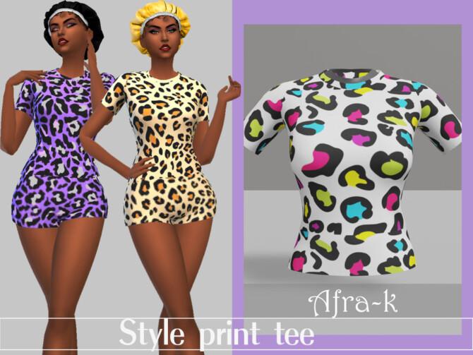 Sims 4 Style print t shirt by akaysims at TSR