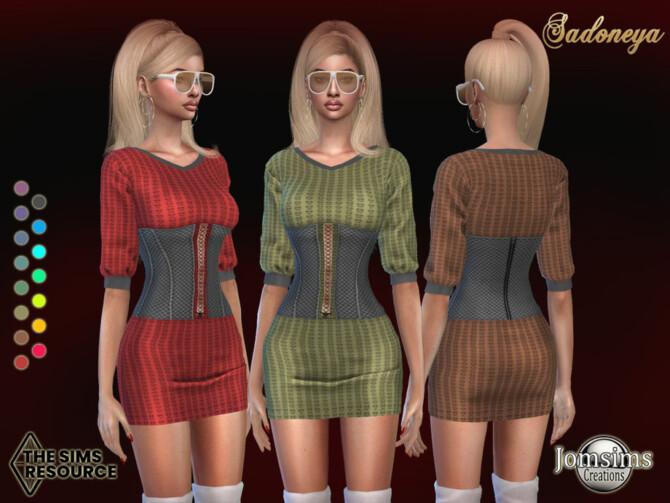 Sims 4 Sadoneya dress by jomsims at TSR