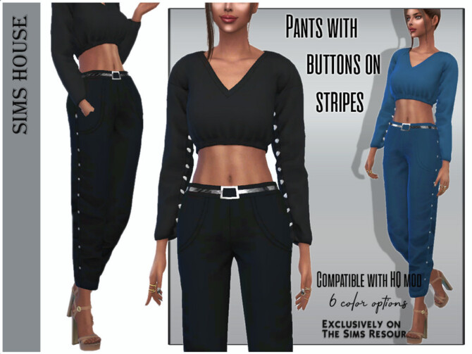 Sims 4 Pants with buttons on stripes by Sims House at TSR