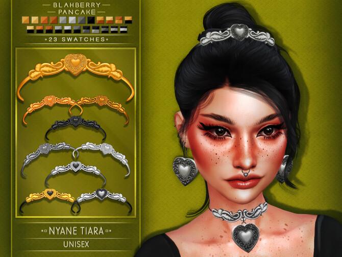 Sims 4 Nyane Set: choker, earrings, septum piercing, headband & tiara at Blahberry Pancake