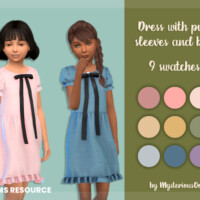 Dress With Puff Sleeves And Bow By Mysteriousoo