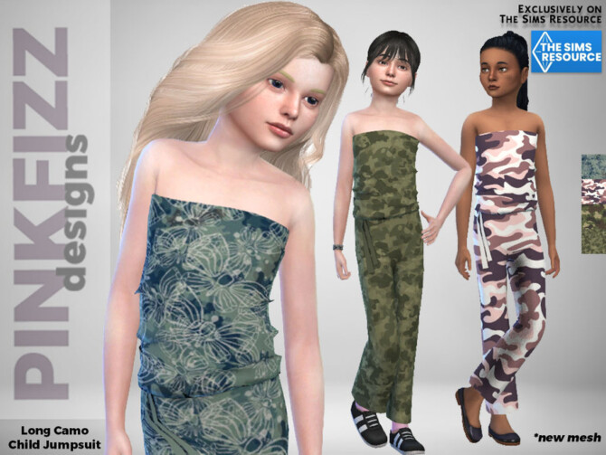 Sims 4 Camo Long Jumpsuit for kids by Pinkfizzzzz at TSR